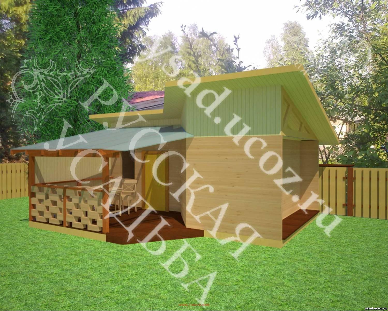 Общий вид бани 6х4 с открытой террасой
